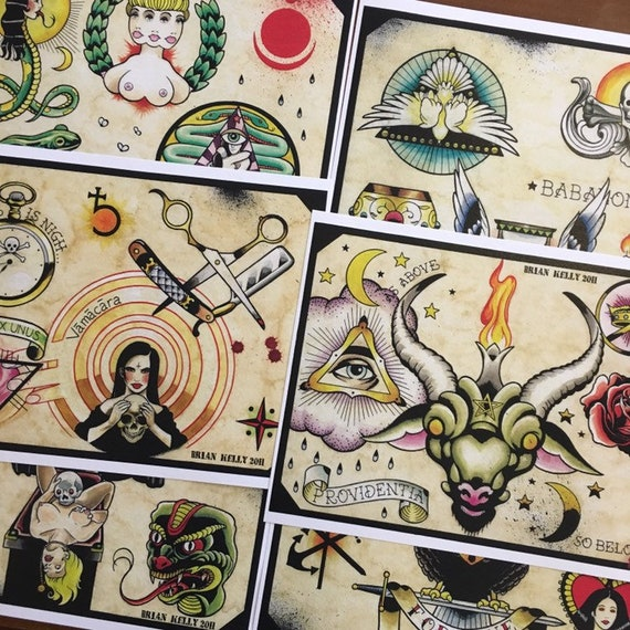 The Occult Tattoo Flash Set 7 By Brian Kelly 6 Sheets Etsy