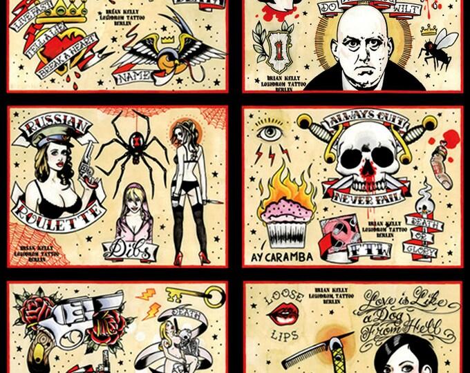 Tattoo Flash Set 3 by Brian Kelly. 6 sheets.