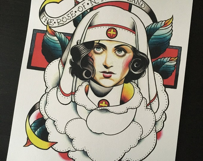 The Rose of No Man's Land Tattoo Art Print