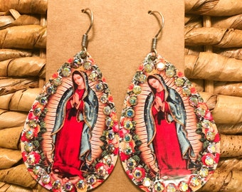 Details about  /18k Gold Plated Virgin Mary Lady of Guadalupe CZ Screw Back Earrings