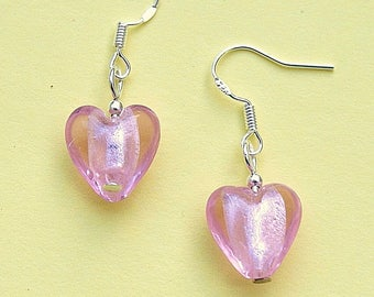 Pink Love Heart Earrings with Sterling Silver Hooks New Glass Drops LB39