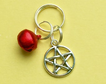 Cat Collar Charms Red Cat Bell & Pentagram Charm Pet Collar Charms LBLB32
