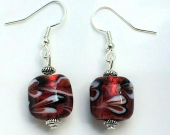 Red Glass Flower Bead Earrings With Sterling Silver Hooks Drop Dangle LB642