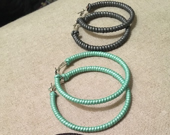 Leather wrapped hoop earrings