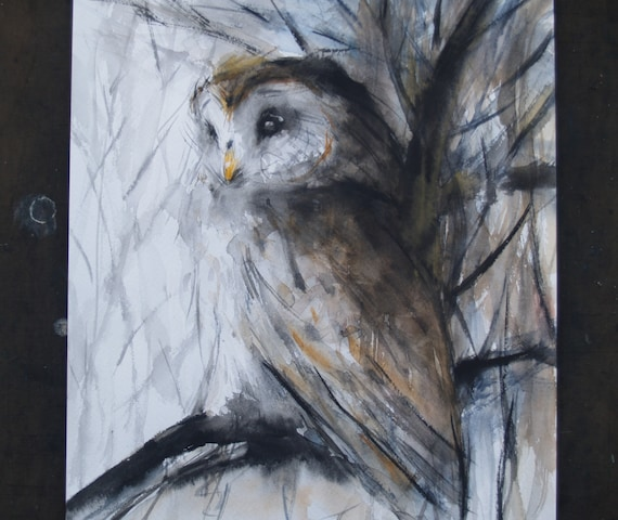 Bird Original Watercolor Painting Barred Owl Animal Illustration Original Artwork