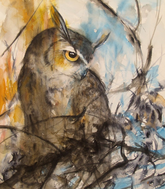 Original Owl Artwork Watercolor Painting Bird Art Animal Wildlife 12.9x14.8inch