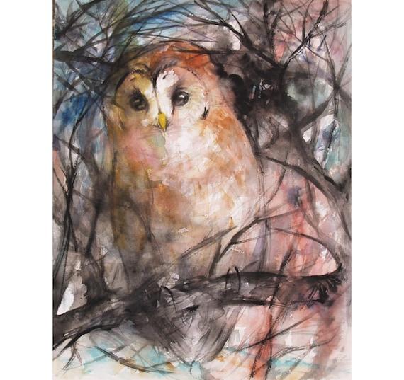 Wildlife Original Owl Painting Barred Owl Watercolor Painting Bird Artwork