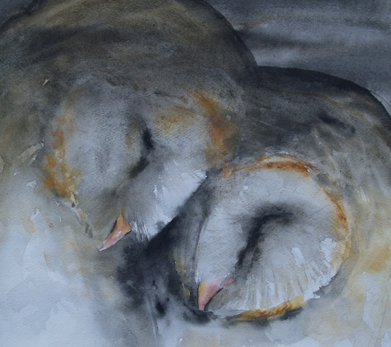 Animal Artwork Barn Owl Original Watercolor Painting Original Artwork