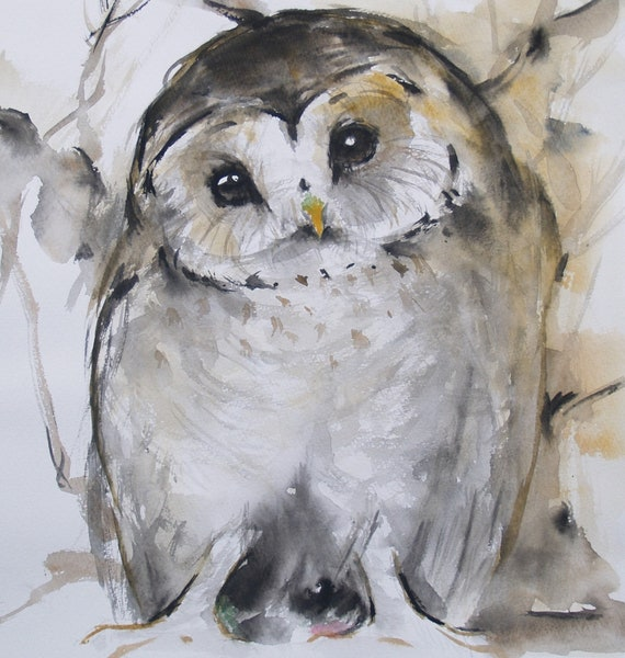 Original Watercolor Painting Barn Owl Original Artwork