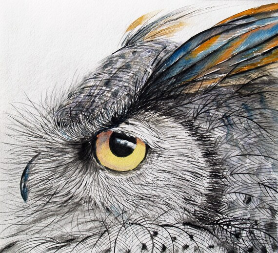Original Watercolor Painting Horned Owl Art Gray Bird Artwork Animal Painting Wildlife 10x11in