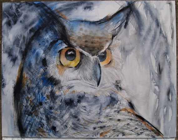 Original Watercolor Painting Great Horned Owl