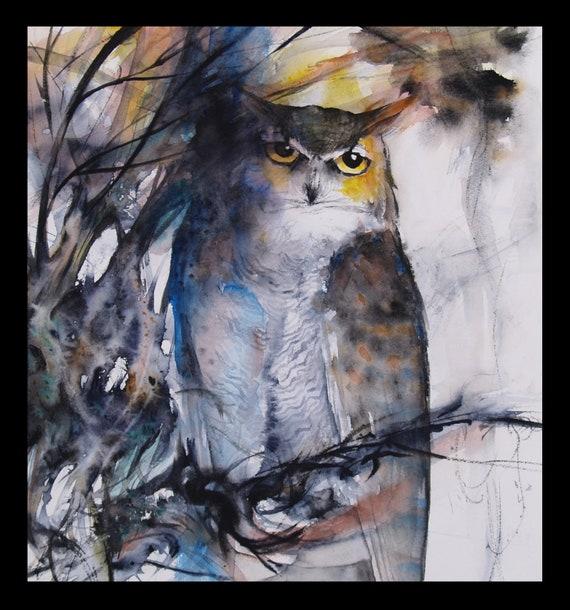 Owl Original Watercolor Painting Animal Artwork Bird Painting Wildlife 12x13in