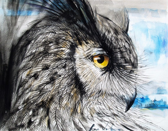 Horned Owl Original Watercolor Painting Gray Owl Art Bird Artwork Animal Art Wildlife 12.8x16.4in
