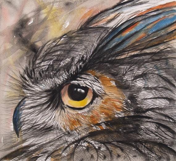 Original Watercolor Painting Horned Owl Art Wildlife Bird Artwork Animal Painting 10x11in