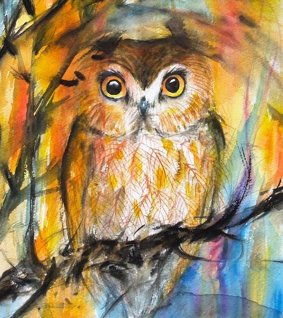 Saw-Whet Owl Art Original Watercolor Painting Nature Painting Animal Artwork Bird Trees Wildlife 8.9x10.6in