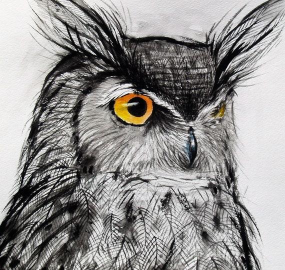 Watercolor Drawing Original Horned Owl Art Gray Bird Artwork Animal Illustration Wildlife 10.7x11in