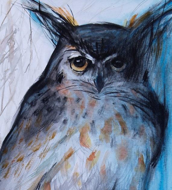 Wildlife Artwork Great Horned Owl Watercolor Painting Original Artwork Bird Art Blue