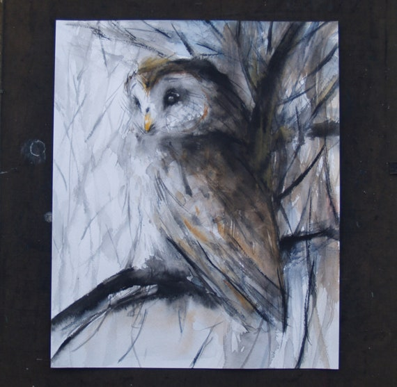 Owl Art Bird Artwork Original Watercolor Painting Barred Owl Animal Illustration