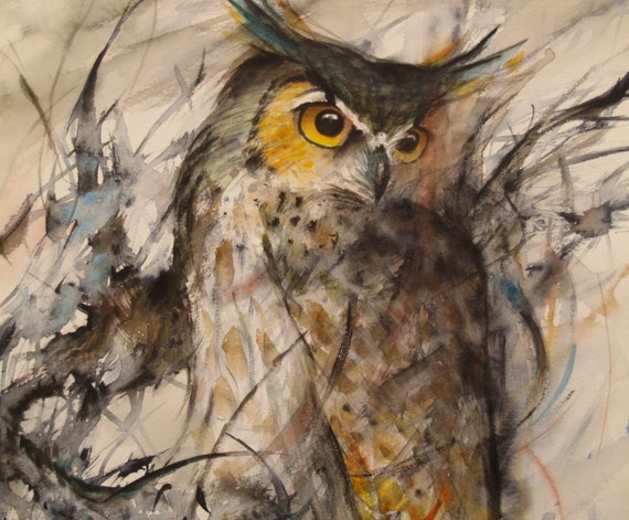 Watercolor Painting Owl Original Artwork Bird Art Animal Wildlife Art 12.9x14.8inch