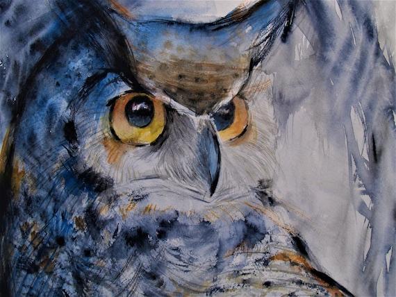 Original Watercolor Painting Owl Bird Art Wildlife Artwork Great Horned Owl