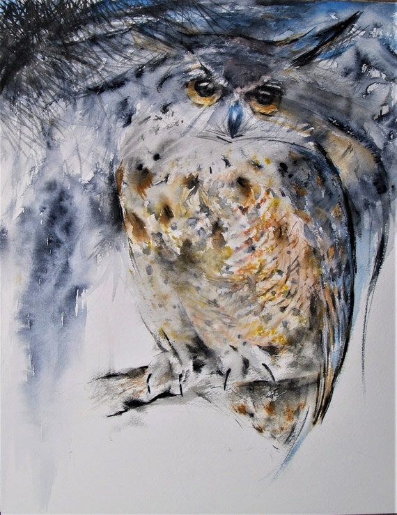 Original Artwork Owl Watercolor Painting Great Horned Owl Bird Wildlife Art