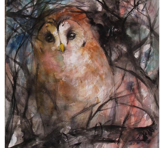 Wildlife Artwork Original Owl Painting Barred Owl Watercolor Painting Bird Artwork