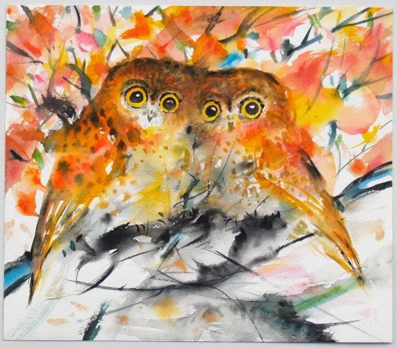 Orange Owls Original Watercolor Painting Animal Artwork Bird Painting Wildlife 11x9.5in