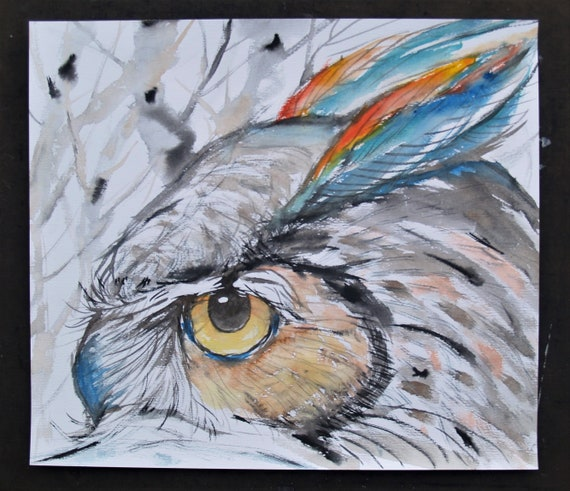 Old Owl Drawing Bird Painting Original Animal Artwork