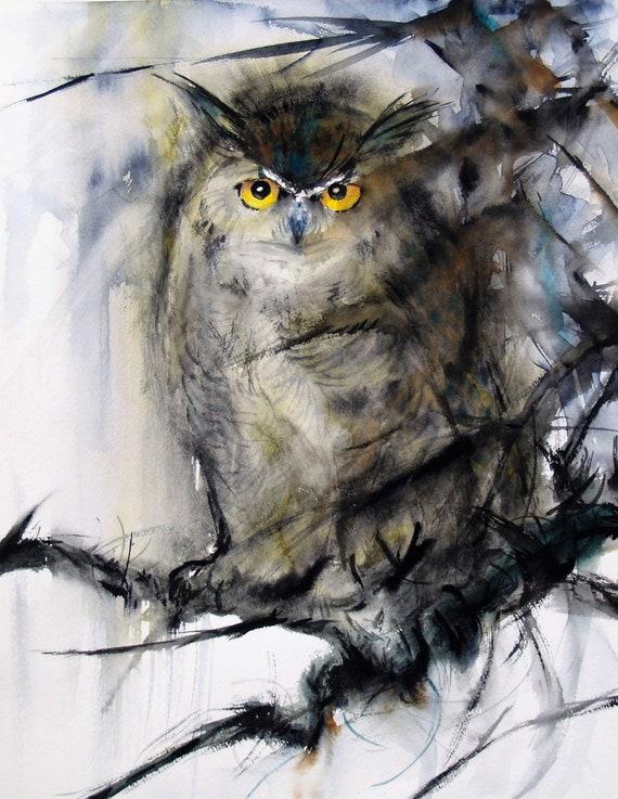 Horned Owl Original Watercolor Painting Gray Animal Artwork Bird Painting Wildlife 12.9x16.5in