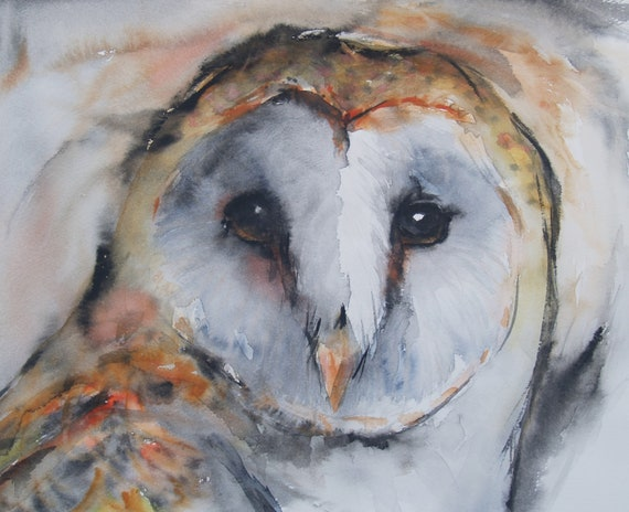 Barn Owl Original Watercolor Painting Bird Artwork Animal Illustration Nature Art Original Artwork