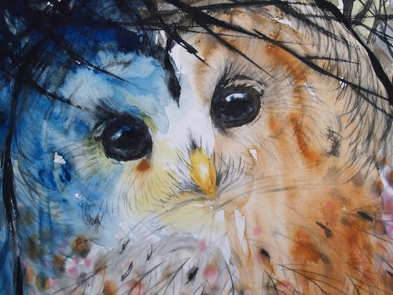 Original Watercolor Painting Bird