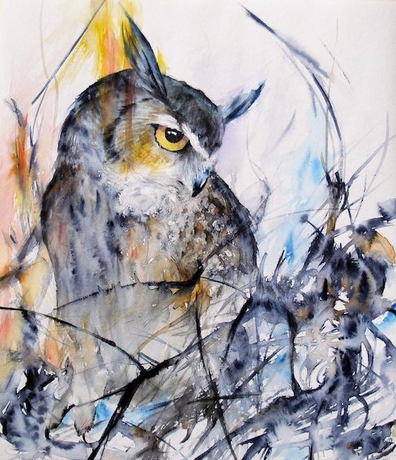 Horned Owl Original Watercolor Painting Animal Artwork Bird Painting Wildlife 12.9x14.8in