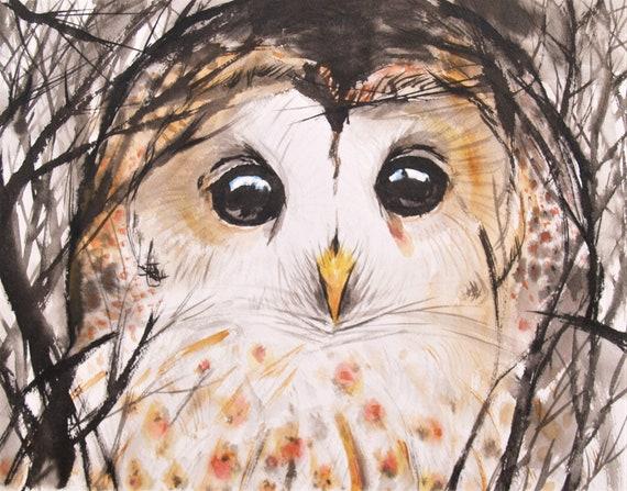 Owl Original Watercolor Painting Bird Artwork Animal Nature Art Original Artwork
