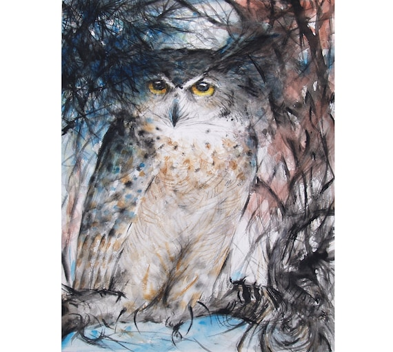 Owl Painting Original Great Horned Owl Watercolor Painting Bird Wildlife Artwork
