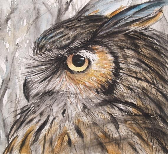 Wildlife Horned Owl Original Watercolor Painting Bird Artwork Animal Art  11x12in