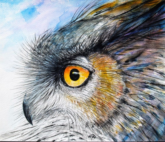 Watercolor Painting Original Horned Owl Art Gray Bird Artwork Animal Painting Wildlife 9.3x11in