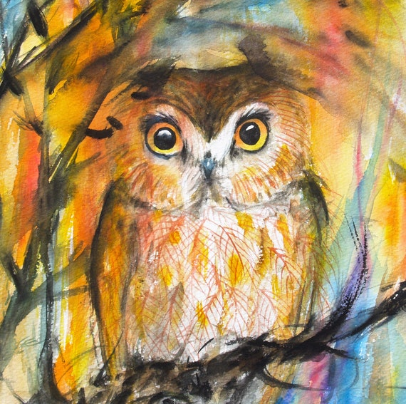 Saw-Whet Owl Art Original Watercolor Painting Nature Painting Animal Artwork Bird Trees Wildlife 8.9x10.6in