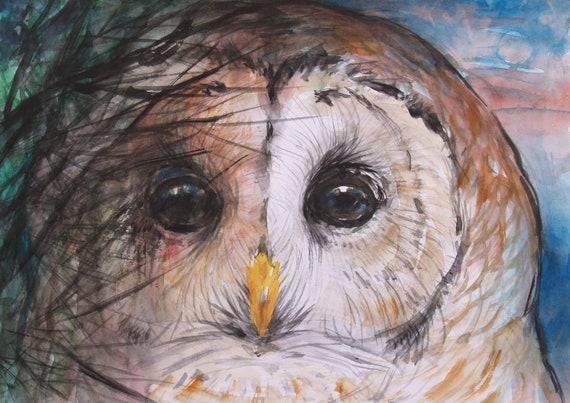Owl Original Watercolor Painting Bird Artwork Animal Wildlife Art