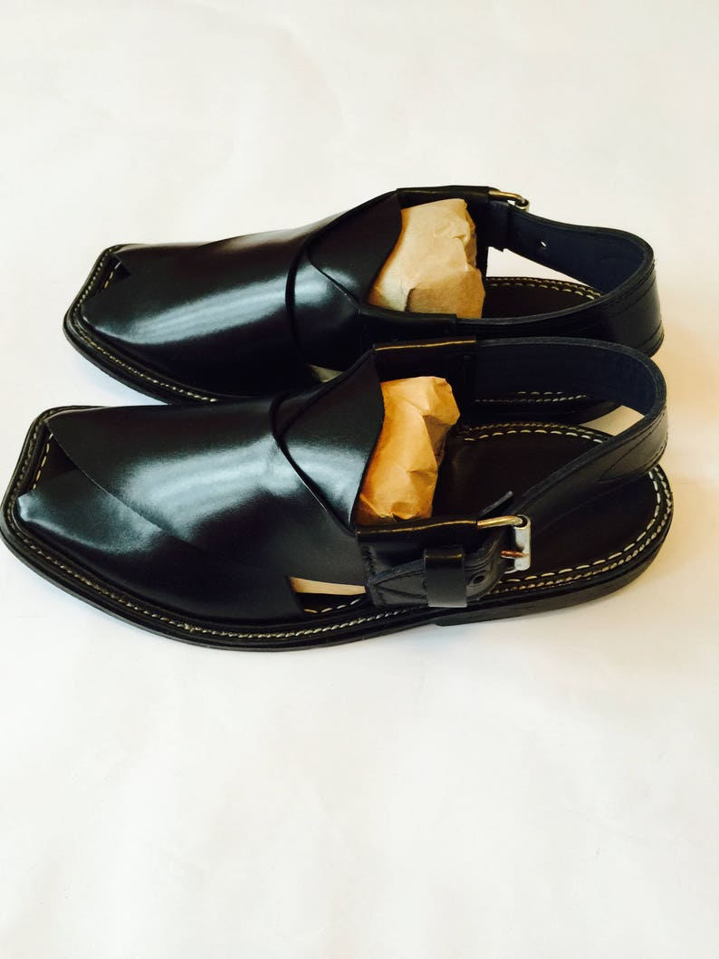 fa2609bc74f Authentic BLACK Mens Afghan Shoes Authentic Leather Sandals