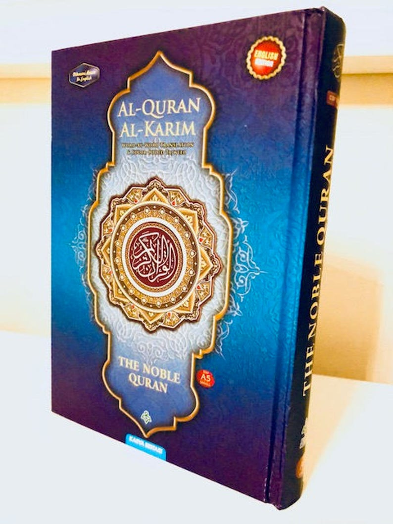 NOBLE Quran Word for Word Arabic to English Translation Colour Tajweed A5