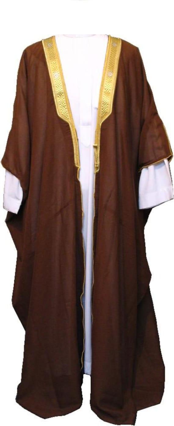 BISHT Arabic Cloak Robe Sufi Whirling Dervish Clothing Gown Thobe Long Robe Arab Mens Gold Trim SheikhNew 5mLm6T