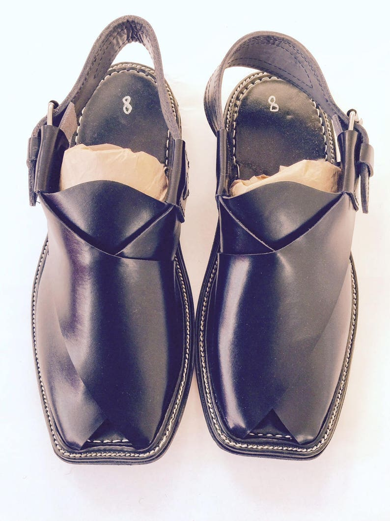 Authentic BLACK Mens Afghan Shoes Authentic Leather Sandals  1f56132b3fa5