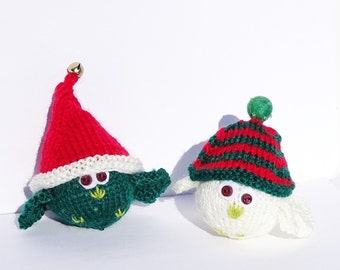Hand Knit Christmas Decoration, Festive Birds, Knitted Tree Ornaments, Ready to Ship, Gift for Christmas, Christmas Toys, Handmade in USA