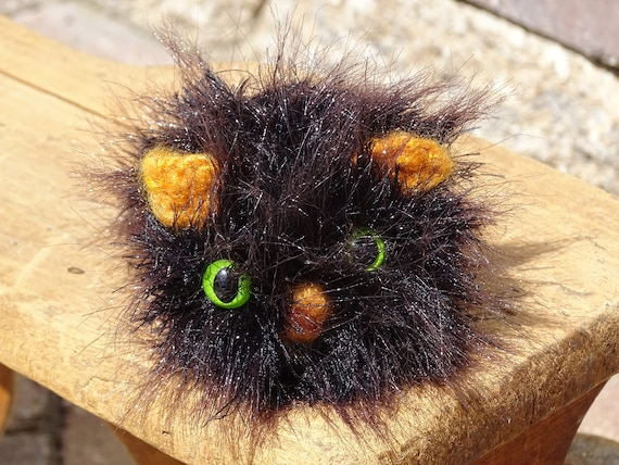 Knitted Kitty Black Cat Fluffy Cat Hand Knitted Cat Etsy