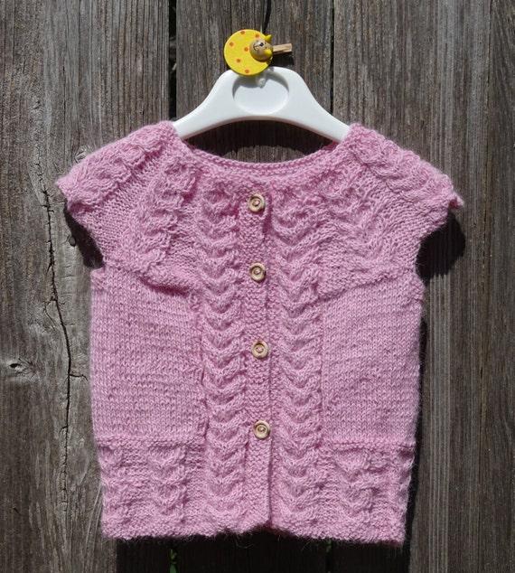 De la mano de punto bebé chaleco suéter sin mangas rosa   Etsy