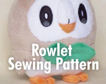 DIY Rowlet Plush Sewing Pattern + Eye Embroidery Files
