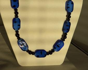 Blue & Black Beaded Necklace