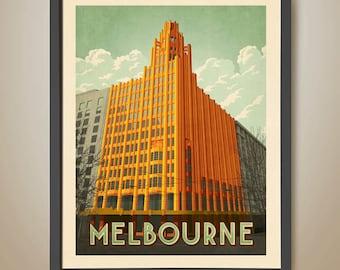 Manchester Unity Building. Art Deco Poster. Melbourne Print. Melbourne Architecture. Art Deco Building.