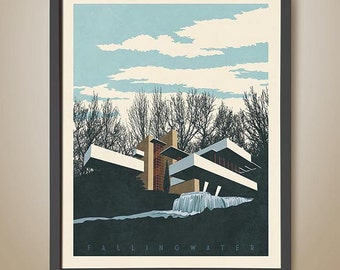 FallingWater Print. Frank Lloyd Wright. Architectural illustration. Famous architecture. Iconic Homes. Famous American Architect