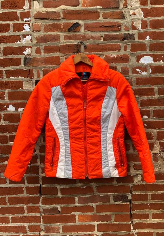 Vintage White Stag Bright Orange Ski Jacket Women'